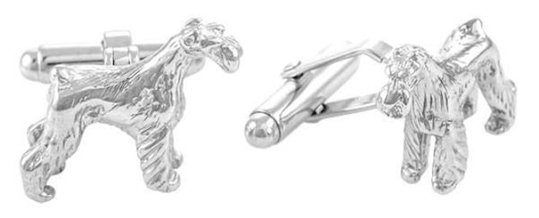 Schnauzer Cufflinks in Sterling Silver - Item: SCL154 - Image: 1