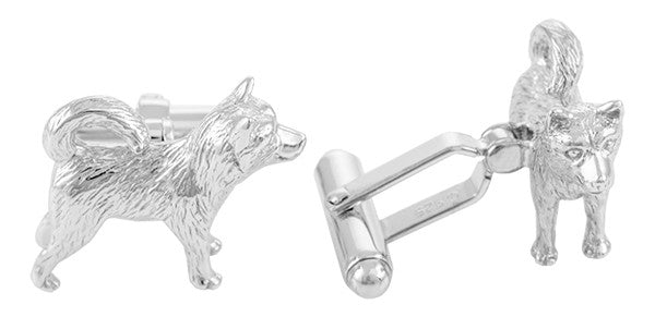 Husky Dog Cufflinks in Sterling Silver - Item: SCL155 - Image: 1