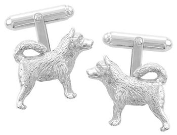 Husky Dog Cufflinks in Sterling Silver