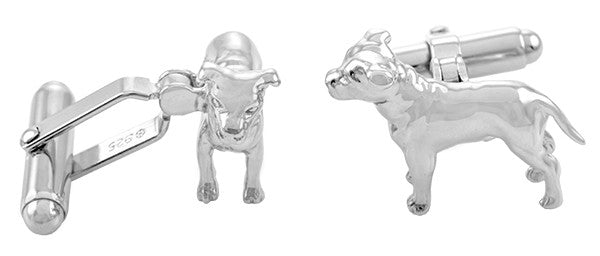 Pit Bull Dog Cufflinks in Sterling Silver - Item: SCL156 - Image: 1