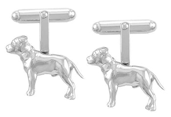 Pit Bull Dog Cufflinks in Sterling Silver