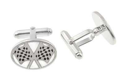 Checkered Flag Cufflinks in Sterling Silver - Item: SCL162 - Image: 1
