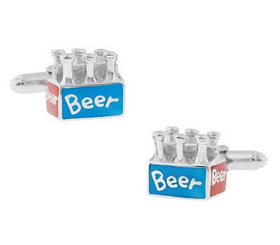 6 Pack Beer Cufflinks in Sterling Silver with Red and Blue Enamel
