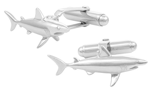 Shark Cufflinks in Sterling Silver - Item: SCL167 - Image: 1