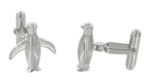 Penguin Cufflinks in Sterling Silver - Item: SCL171 - Image: 1