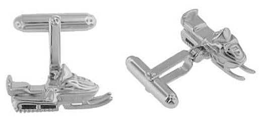 Snowmobile Cufflinks in Sterling Silver - Item: SCL175 - Image: 1