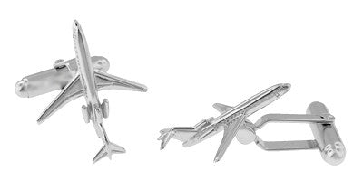 Airplane Cufflinks in Sterling Silver - 727 Jet Design - Item: SCL179 - Image: 2