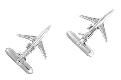 Airplane Cufflinks in Sterling Silver - 727 Jet Design