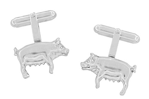 Pig Cufflinks in Sterling Silver