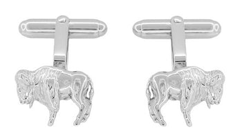 Buffalo Cufflinks in Sterling Silver - Bison Cufflinks