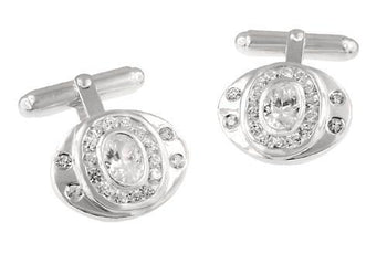 Classic Oval Cufflinks Set with Cubic Zirconia ( CZ ) Gemstones in Solid Sterling Silver
