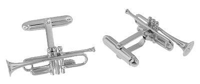 Trumpet Cufflinks in Sterling Silver - Item: SCL188 - Image: 1