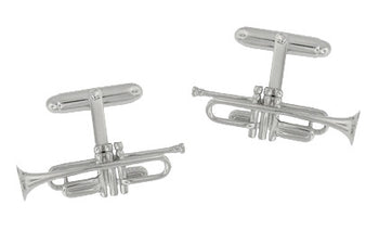 Trumpet Cufflinks in Sterling Silver