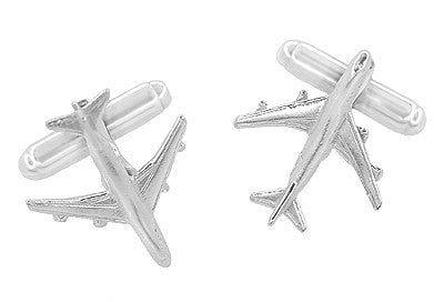 Airplane Cufflinks in Sterling Silver  - 747 Jet Design