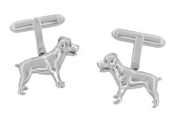 Rottweiler Dog Cufflinks in Sterling Silver