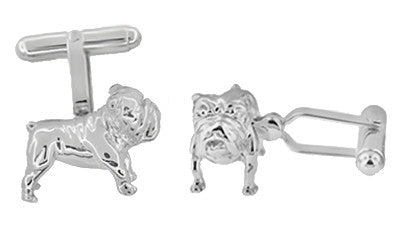 English Bulldog Cufflinks in Sterling Silver - Item: SCL199 - Image: 1