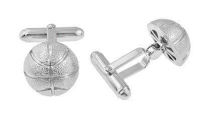 Basketball Cufflinks in Sterling Silver - Item: SCL204 - Image: 1