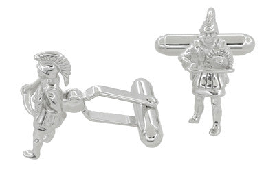 Greek Warrior Cufflinks in Sterling Silver