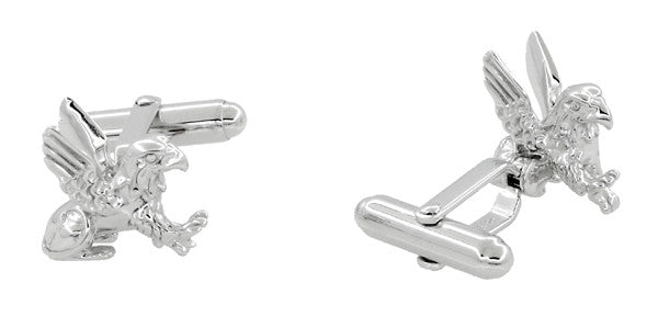 Griffin (Gryphon) Cufflinks in Sterling Silver - Item: SCL206 - Image: 1