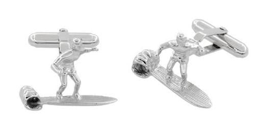 Surfer Cufflinks in Sterling Silver - Item: SCL208 - Image: 1