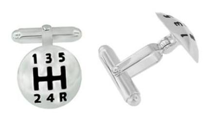 Car Driver's Gear Shift Knob Cufflinks in Sterling Silver with Black Enamel - Item: SCL210B - Image: 1