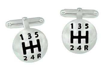 Car Driver's Gear Shift Knob Cufflinks in Sterling Silver with Black Enamel