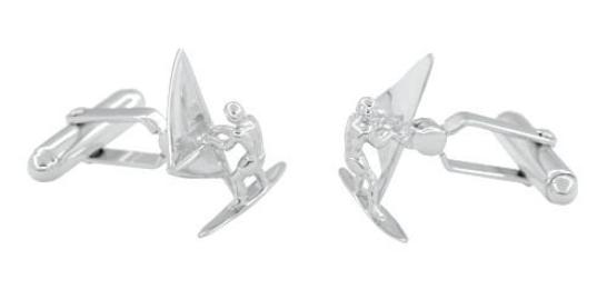 Wind Surfer Cufflinks in Sterling Silver - Item: SCL211 - Image: 1