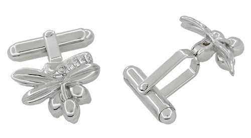 Java Coffee Bean Cufflinks in Sterling Silver - Item: SCL214 - Image: 1