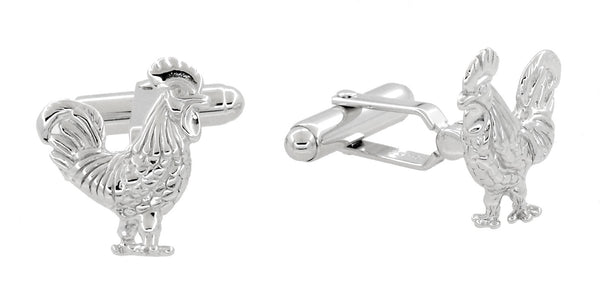 Proud Rooster Cufflinks in Sterling Silver - Item: SCL216 - Image: 1