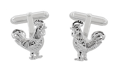 Proud Rooster Cufflinks in Sterling Silver