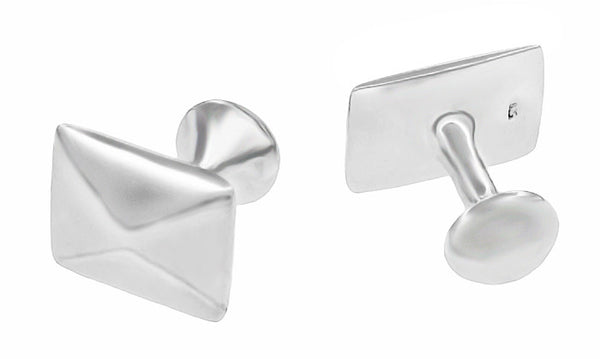 Pyramid Cufflinks in Solid Sterling Silver - Item: SCL222W - Image: 1