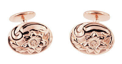 Rose Gold Victorian Sunflower Cufflinks in Sterling Silver Vermeil - Item: SCL224R - Image: 2
