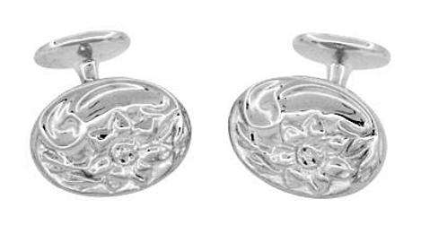 Antique Style Victorian Sunflower Cufflinks in Sterling Silver - Item: SCL224W - Image: 1