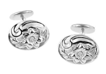 Antique Style Victorian Sunflower Cufflinks in Sterling Silver