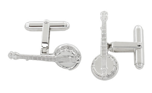 Dueling Banjo Cufflinks in Sterling Silver - Item: SCL225 - Image: 1