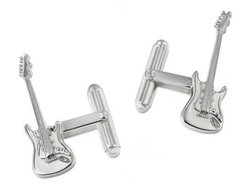 Sterling Silver Electric Guitar Cufflinks