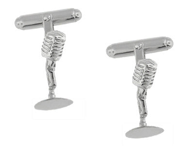 Front of 925 Sterling Silver Microphone Cuff Links - SCL228