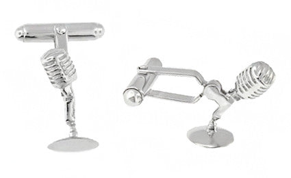 Solid Sterling Silver Micrphone Cufflinks - SCL228