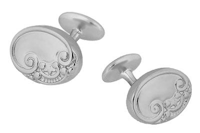 Victorian Scrolls and Fleur-de-Lis Engravable Cufflinks in Sterling Silver