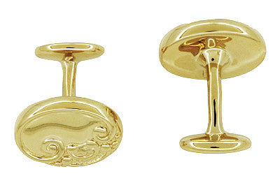 Victorian Scrolls and Fleur-de-Lis Engravable Cufflinks in Solid Sterling Silver with Yellow Gold Vermeil - Item: SCL229Y - Image: 1