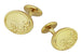 Victorian Scrolls and Fleur-de-Lis Engravable Cufflinks in Solid Sterling Silver with Yellow Gold Vermeil