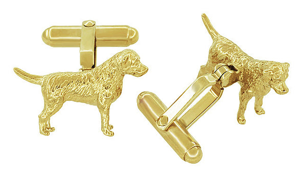 Labrador Retriever Cufflinks in Sterling Silver with Yellow Gold Finish - Item: SCL230Y - Image: 1
