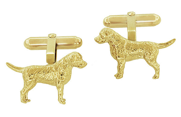 Labrador Retriever Cufflinks in Sterling Silver with Yellow Gold Finish