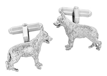 German Shepherd Cufflinks in Sterling Silver