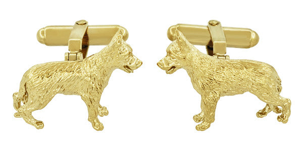 German Shepherd Cufflinks in Sterling Silver with Yellow Gold Finish - Item: SCL231Y - Image: 2