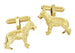 German Shepherd Cufflinks in Sterling Silver with Yellow Gold Finish