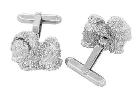 Shih-Tzu Cufflinks in Sterling Silver - Item: SCL232W - Image: 2