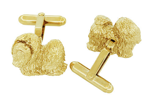 Shih-Tzu Cufflinks in Sterling Silver with Yellow Gold Finish - Item: SCL232Y - Image: 2