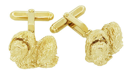 Shih-Tzu Cufflinks in Sterling Silver with Yellow Gold Finish - Item: SCL232Y - Image: 1