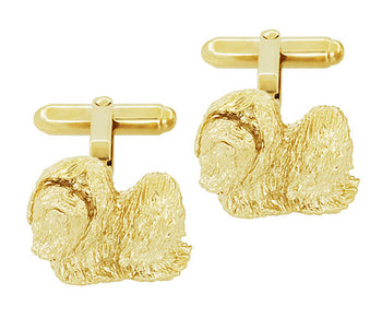 Shih-Tzu Cufflinks in Sterling Silver with Yellow Gold Finish